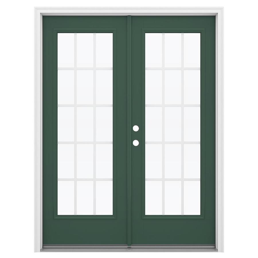 ReliaBilt 59.5-in 15-Lite Grilles Between the Glass Evergreen Fiberglass French Inswing Patio Door