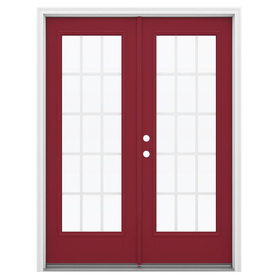 ReliaBilt 59.5-in 15-Lite Grilles Between the Glass Roma Red Fiberglass French Inswing Patio Door