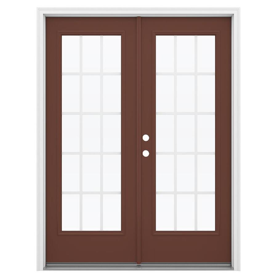 ReliaBilt 59.5-in x 79.5-in Grilles Between the Glass Right-Hand Inswing Brown Fiberglass French Patio Door