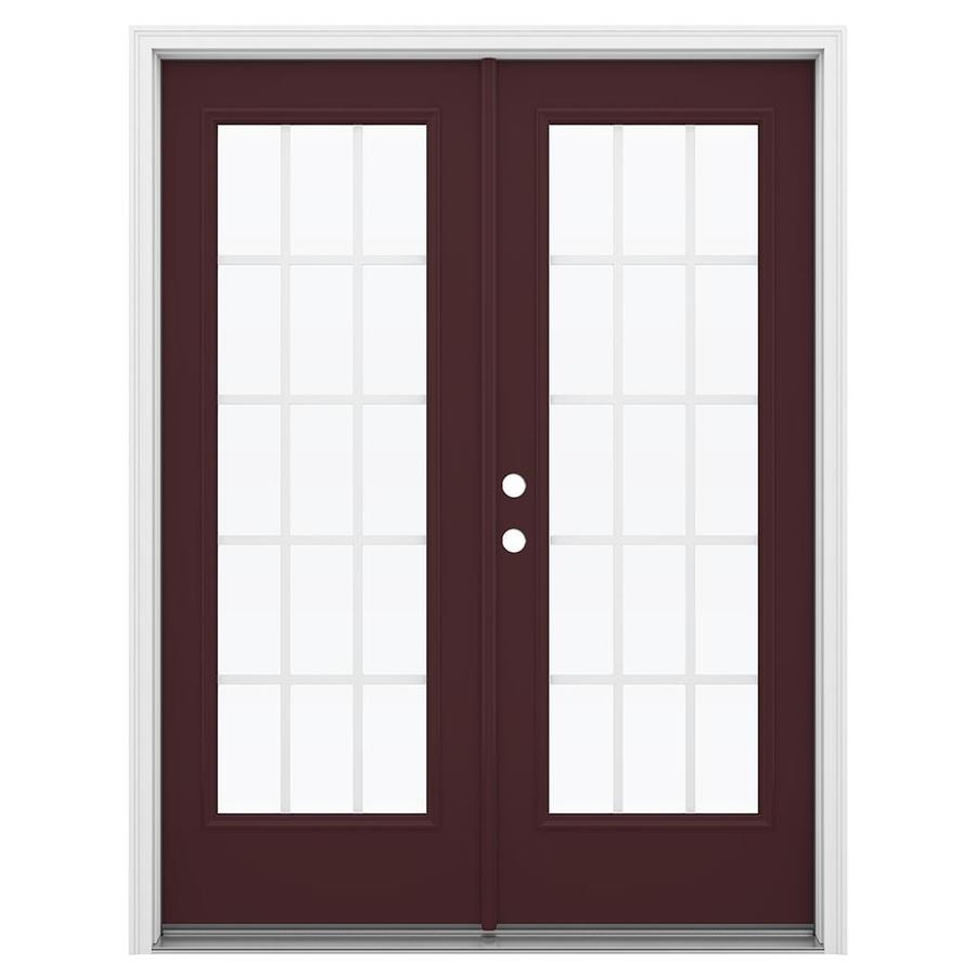 ReliaBilt 59.5-in x 79.5-in Grilles Between the Glass Right-Hand Inswing Brown Fiberglass French Patio Door