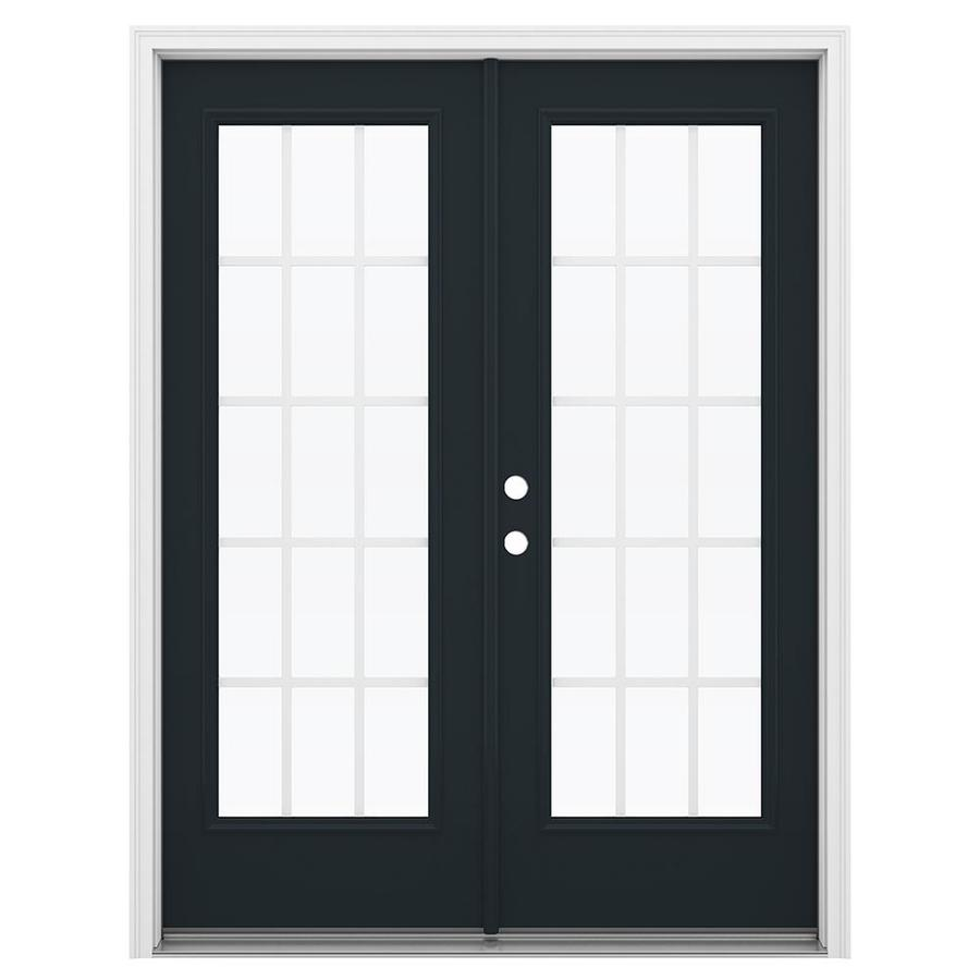 ReliaBilt 59.5-in 15-Lite Grilles Between the Glass Eclipse Fiberglass French Inswing Patio Door
