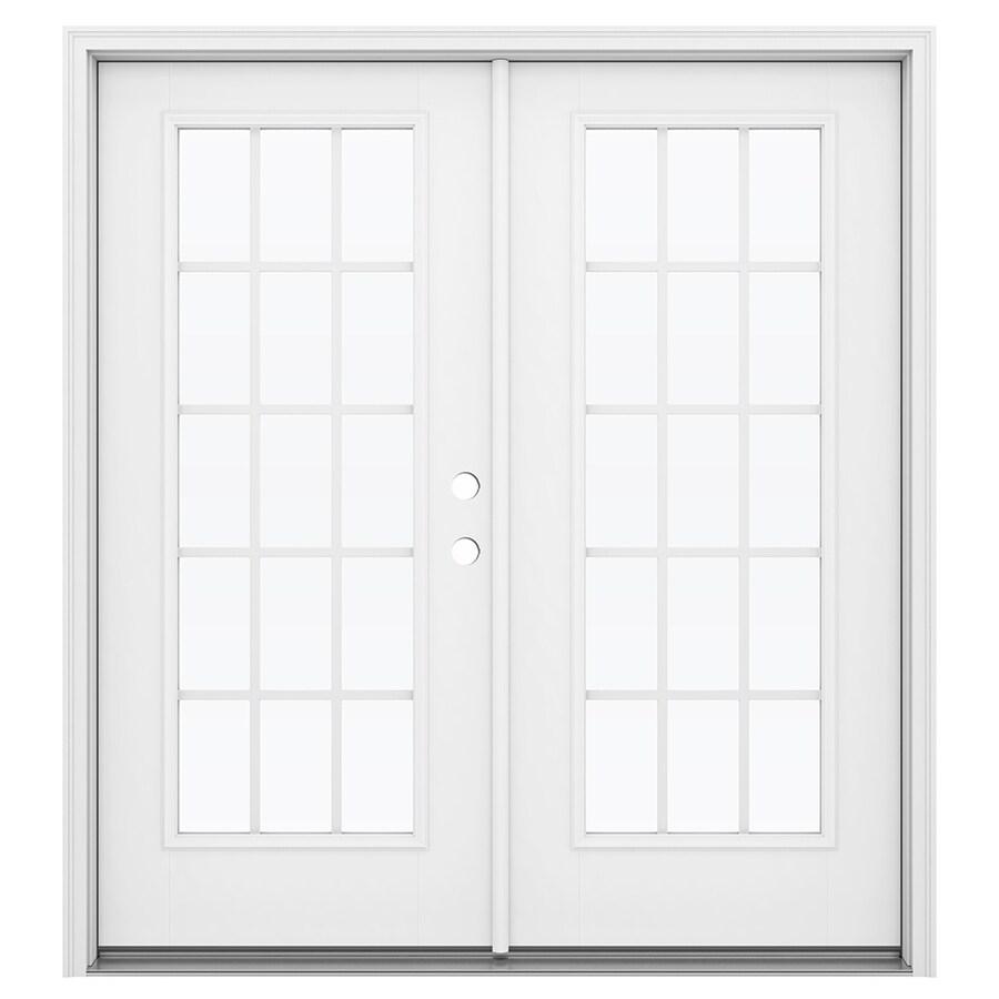ReliaBilt 71.5-in 15-Lite Grilles Between the Glass Primed Fiberglass French Inswing Patio Door