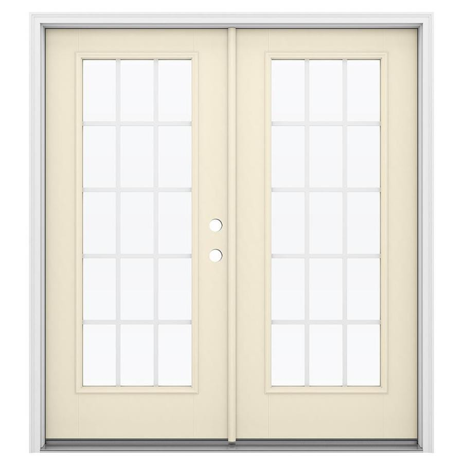 ReliaBilt 71.5-in x 79.5-in Grilles Between the Glass Left-Hand Inswing Off-white Fiberglass French Patio Door
