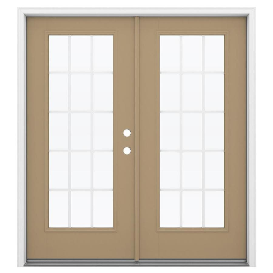 ReliaBilt 71.5-in 15-Lite Grilles Between the Glass Warm Wheat Fiberglass French Inswing Patio Door