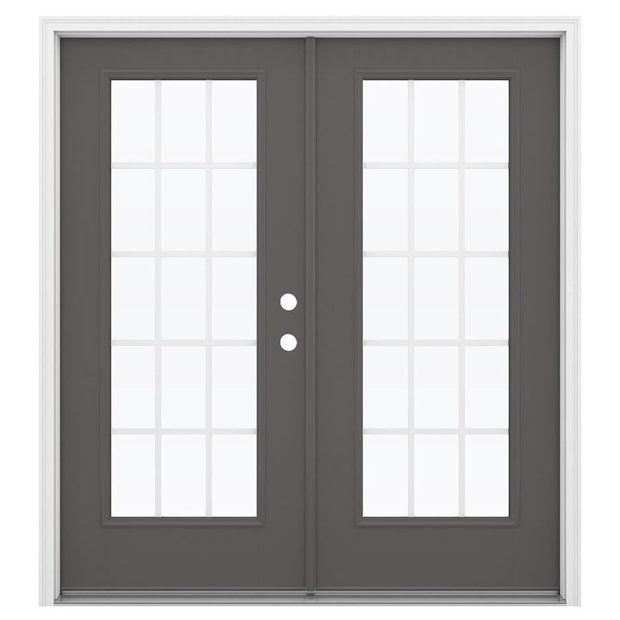 ReliaBilt 71.5-in 15-Lite Grilles Between the Glass Timber Gray Fiberglass French Inswing Patio Door