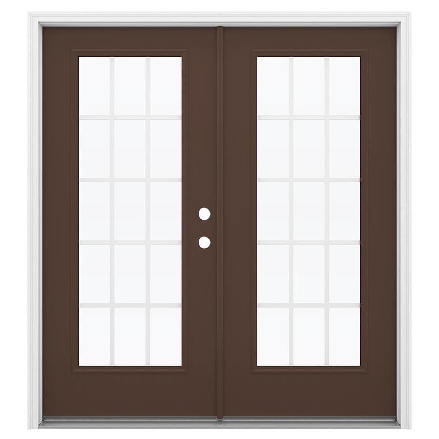 ReliaBilt 71.5-in 15-Lite Grilles Between the Glass Chococate Fiberglass French Inswing Patio Door