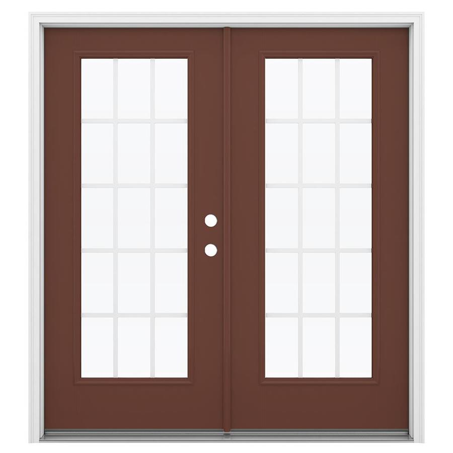 ReliaBilt 71.5-in x 79.5-in Grilles Between the Glass Left-Hand Inswing Brown Fiberglass French Patio Door