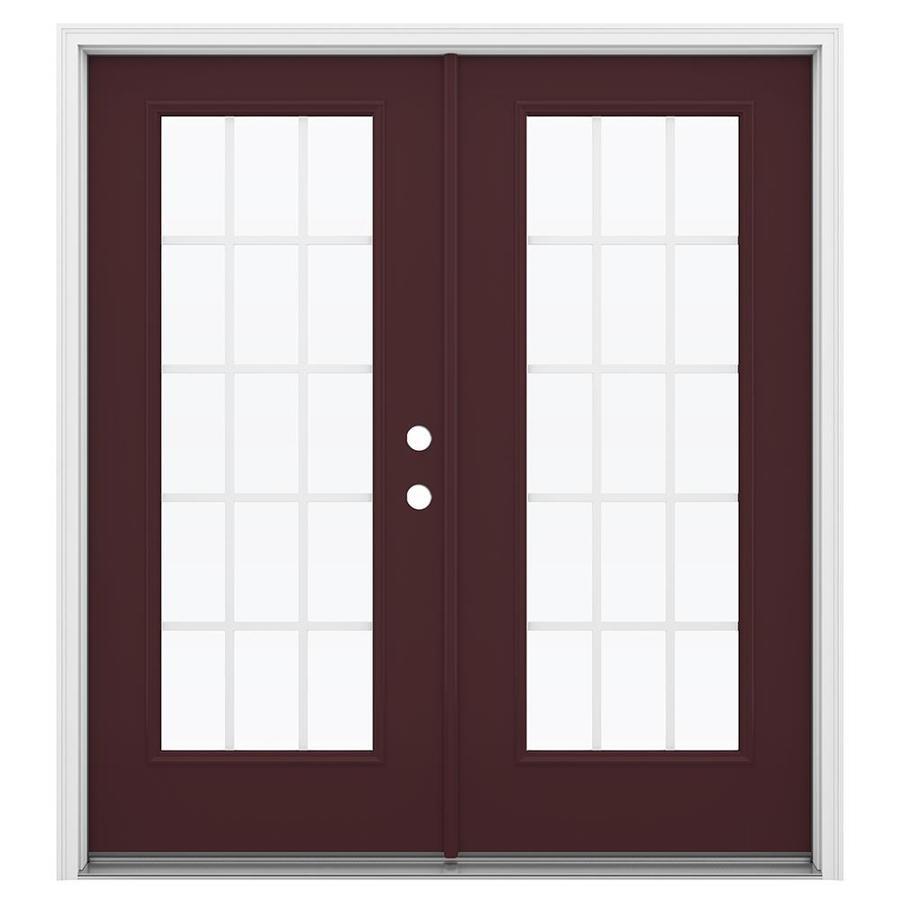 ReliaBilt 71.5-in 15-Lite Grilles Between the Glass Currant Fiberglass French Inswing Patio Door