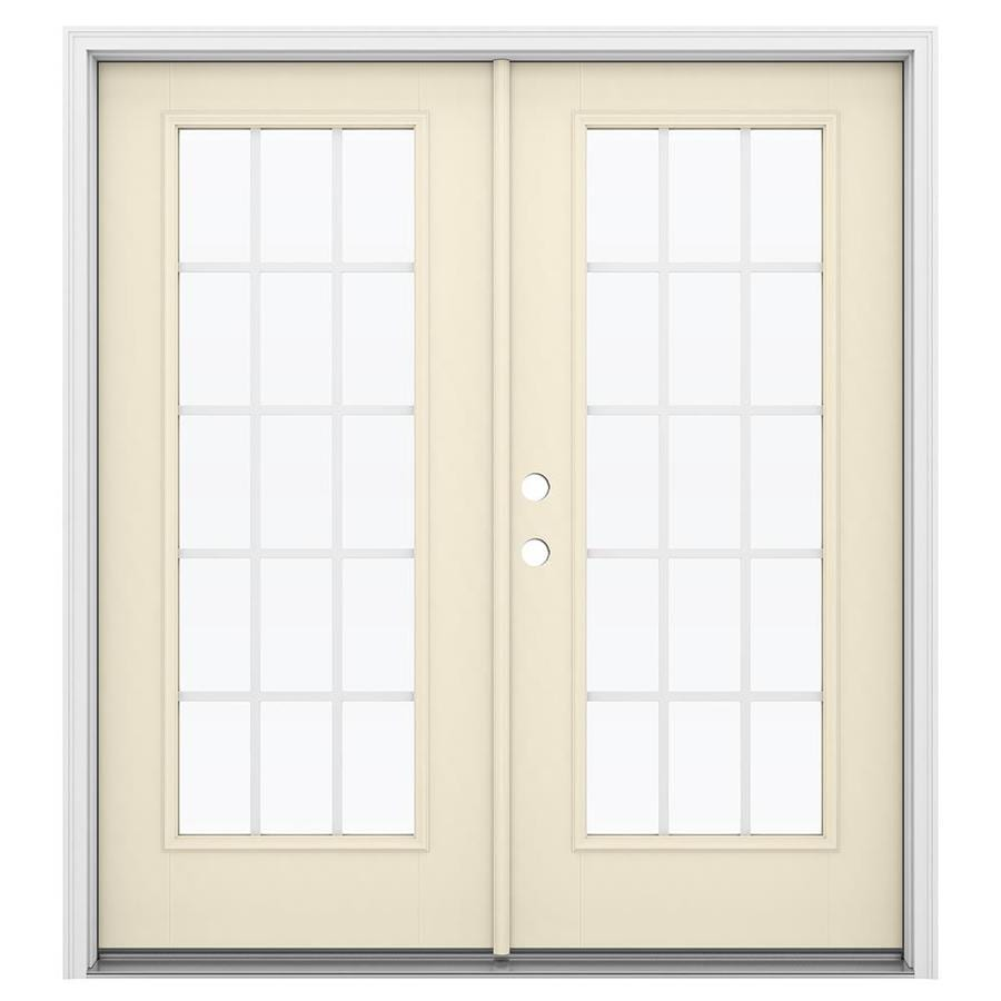 ReliaBilt 71.5-in 15-Lite Grilles Between the Glass Bisque Fiberglass French Inswing Patio Door