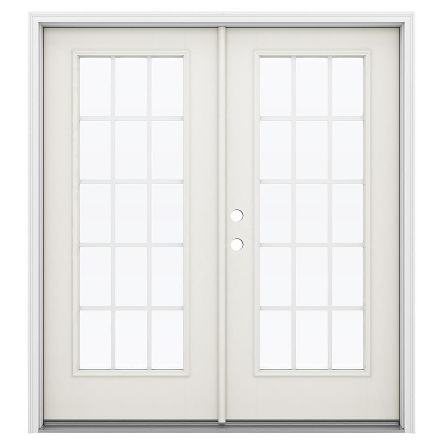 ReliaBilt 71.5-in 15-Lite Grilles Between the Glass Sandy Shore Fiberglass French Inswing Patio Door