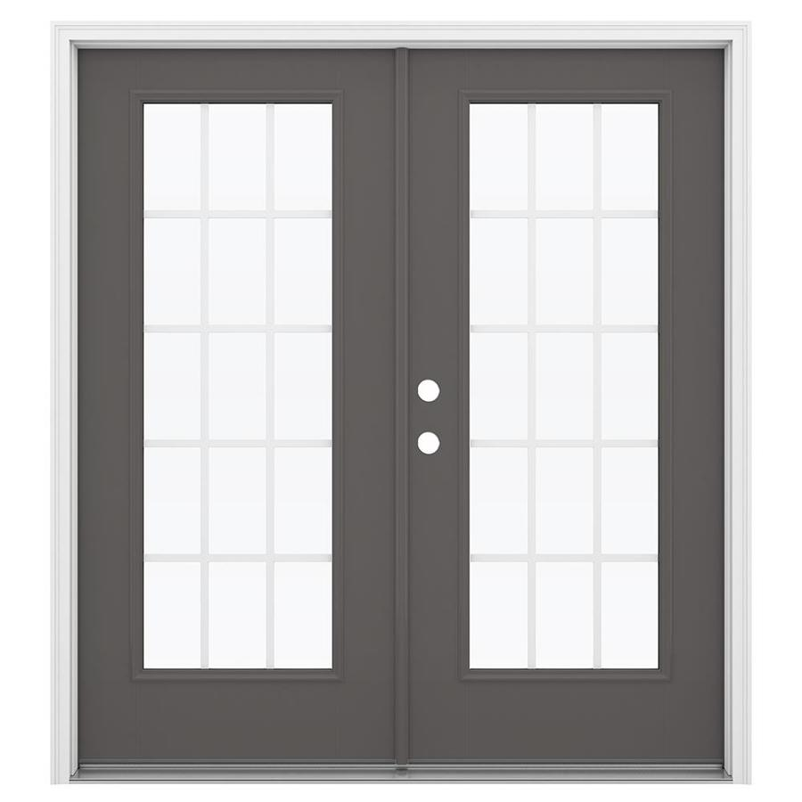 ReliaBilt 71.5-in 15-Lite Grilles Between the Glass Timber Gray Fiberglass French Inswing Patio Door