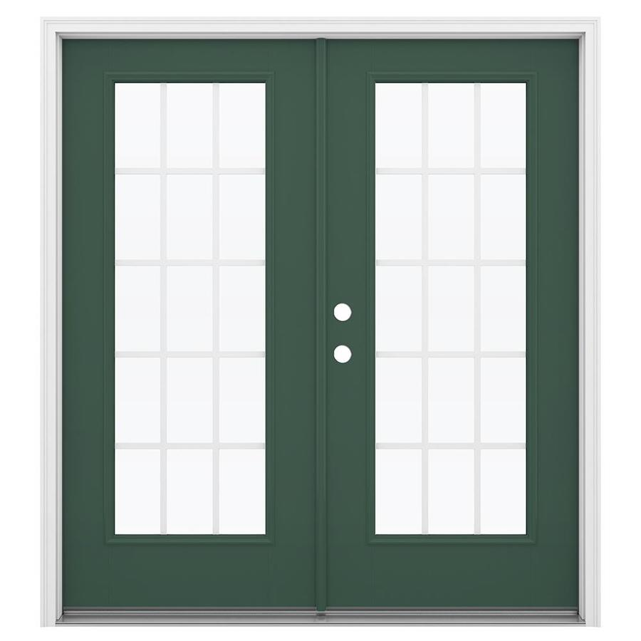 ReliaBilt 71.5-in 15-Lite Grilles Between the Glass Evergreen Fiberglass French Inswing Patio Door