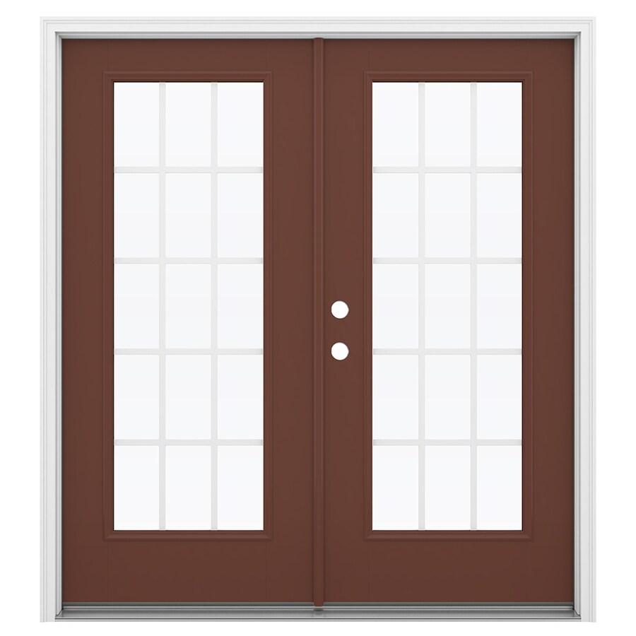 ReliaBilt 71.5-in 15-Lite Grilles Between the Glass Foxtail Fiberglass French Inswing Patio Door