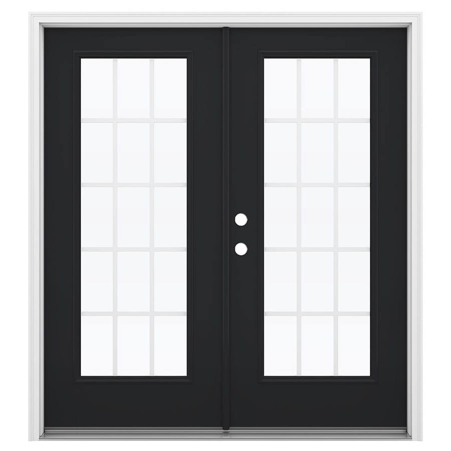ReliaBilt 71.5-in x 79.5-in Grilles Between the Glass Right-Hand Inswing Fiberglass French Patio Door