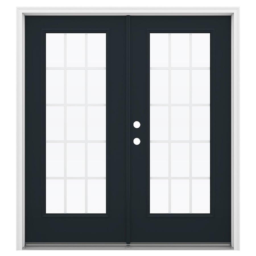 ReliaBilt 71.5-in 15-Lite Grilles Between the Glass Eclipse Fiberglass French Inswing Patio Door