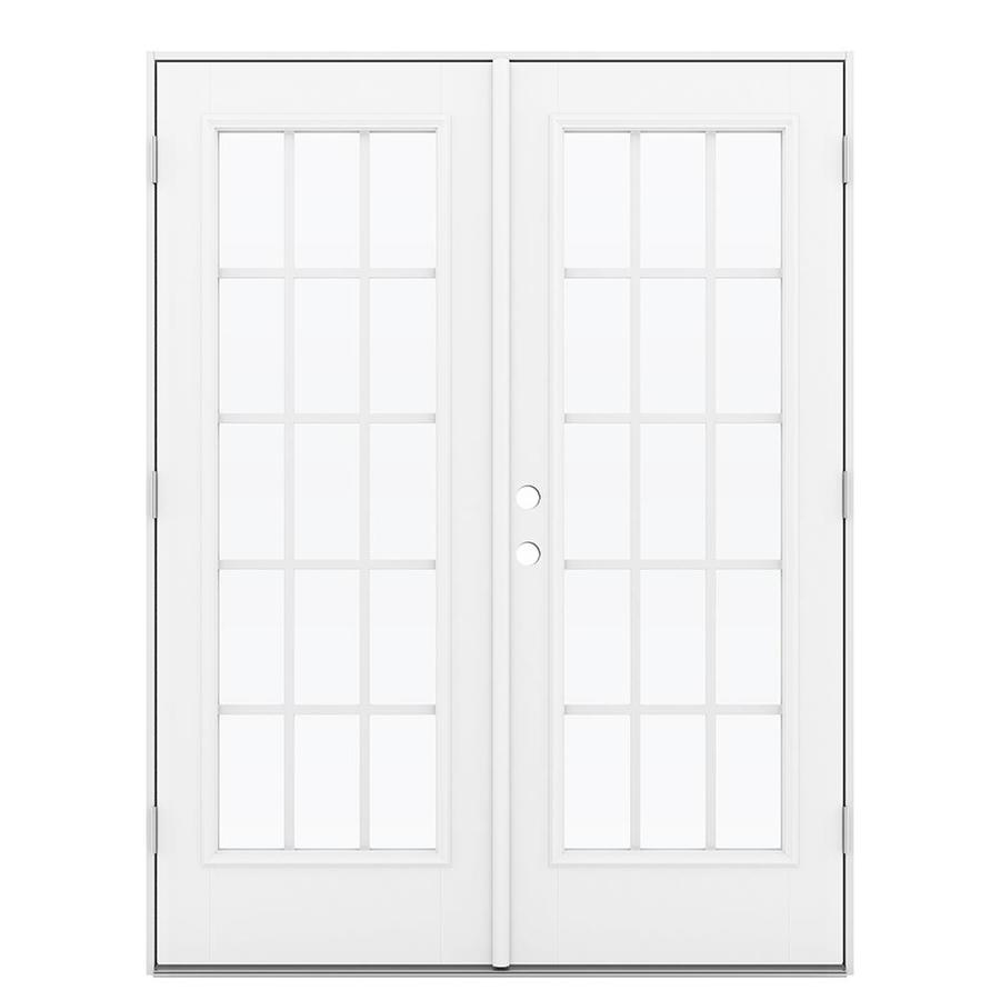 ReliaBilt 59.5-in 15-Lite Grilles Between the Glass Arctic White Fiberglass French Outswing Patio Door