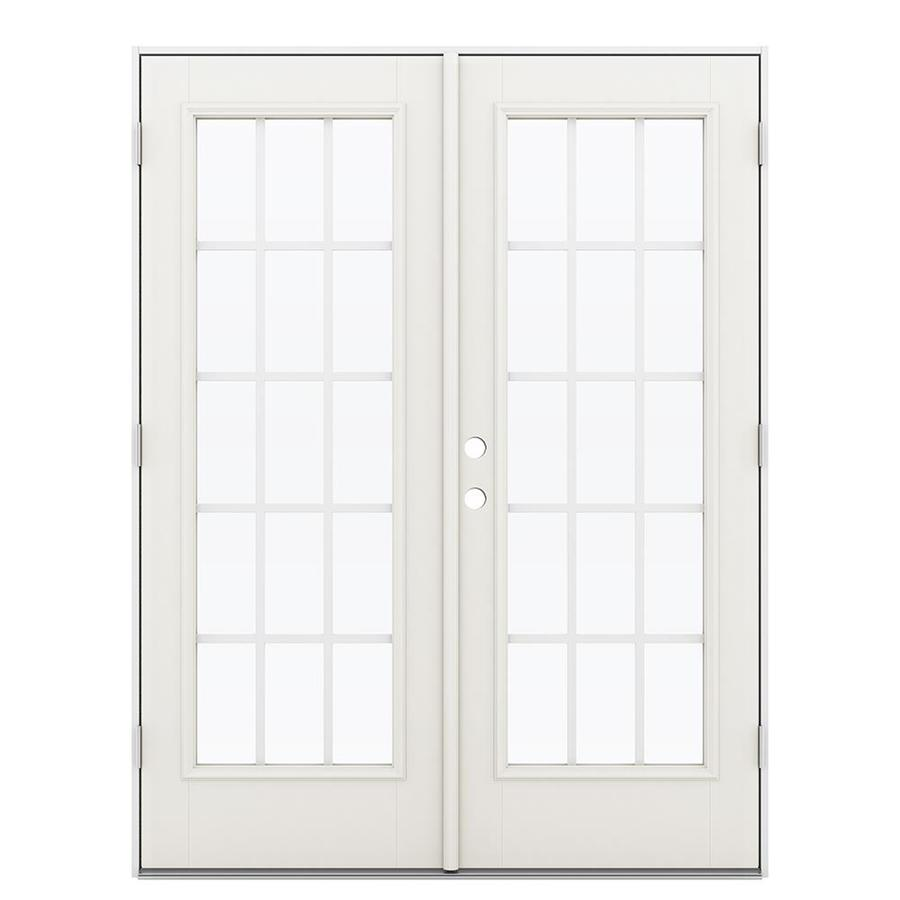 ReliaBilt 59.5-in 15-Lite Grilles Between the Glass Sandy Shore Fiberglass French Outswing Patio Door