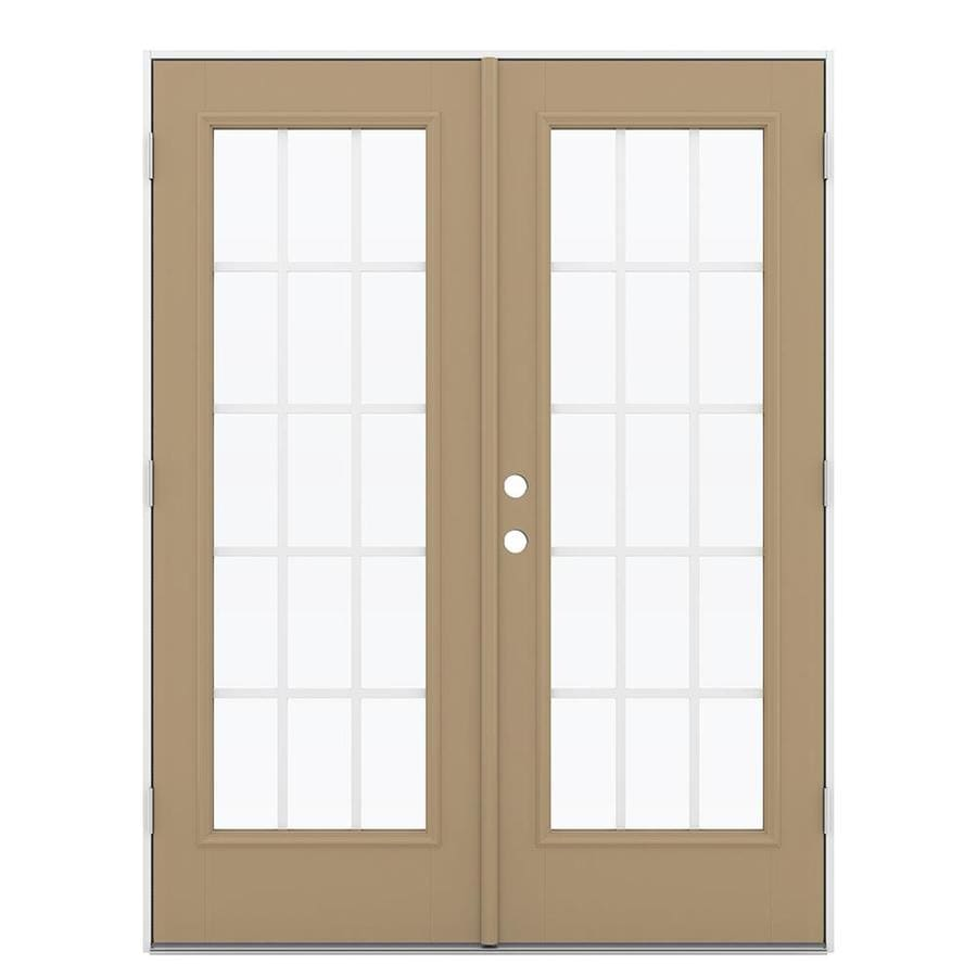 ReliaBilt 59.5-in 15-Lite Grilles Between the Glass Warm Wheat Fiberglass French Outswing Patio Door