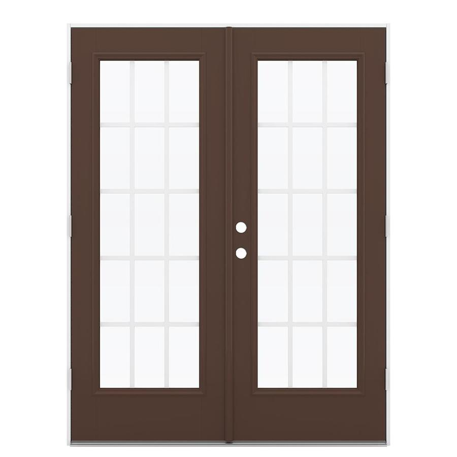 ReliaBilt 59.5-in 15-Lite Grilles Between the Glass Chococate Fiberglass French Outswing Patio Door