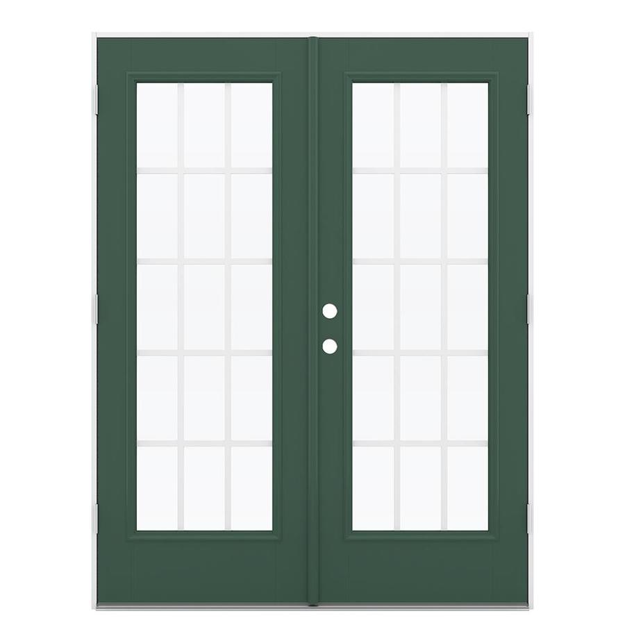 ReliaBilt 59.5-in 15-Lite Grilles Between the Glass Evergreen Fiberglass French Outswing Patio Door
