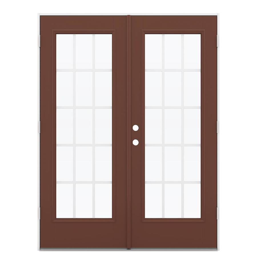 ReliaBilt 59.5-in 15-Lite Grilles Between the Glass Foxtail Fiberglass French Outswing Patio Door