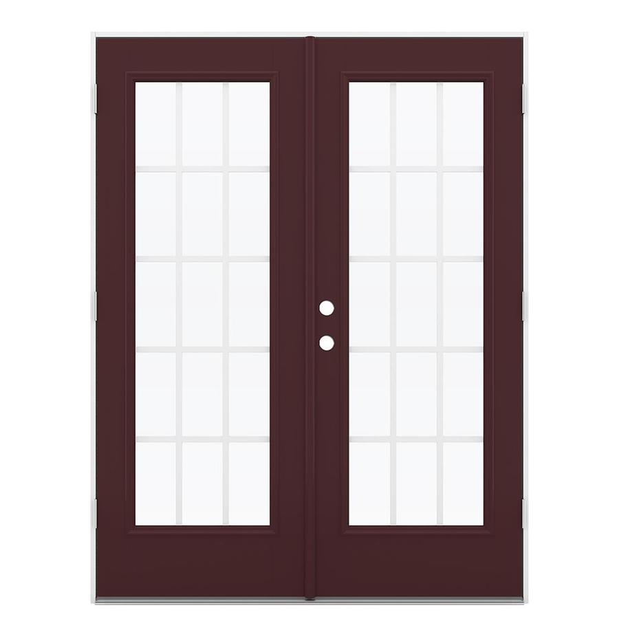 ReliaBilt 59.5-in x 79.5-in Grilles Between the Glass Left-Hand Outswing Brown Fiberglass French Patio Door