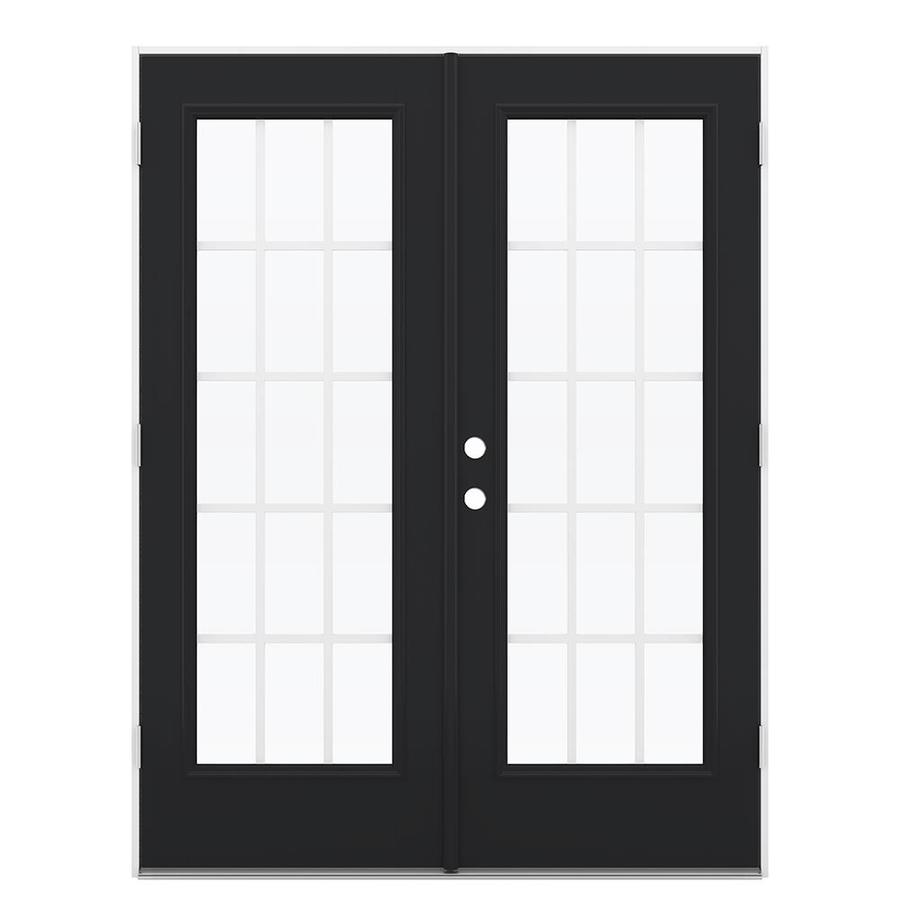 ReliaBilt 59.5-in 15-Lite Grilles Between the Glass Peppercorn Fiberglass French Outswing Patio Door