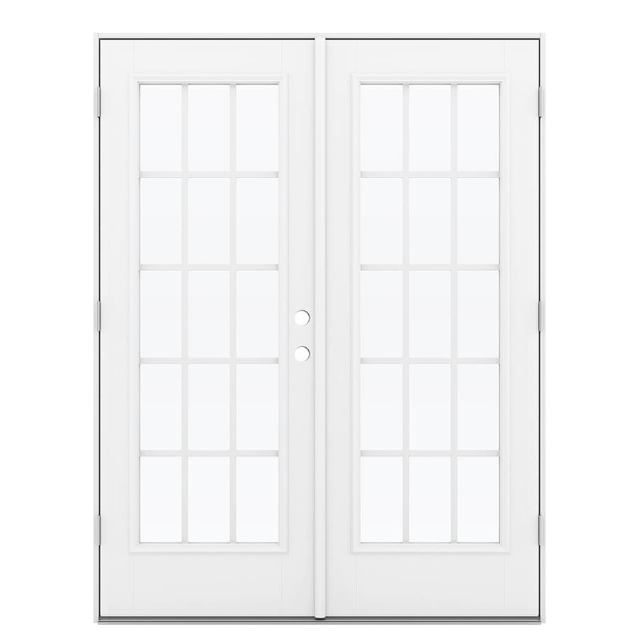 ReliaBilt 59.5-in 15-Lite Grilles Between the Glass Primed Fiberglass French Outswing Patio Door