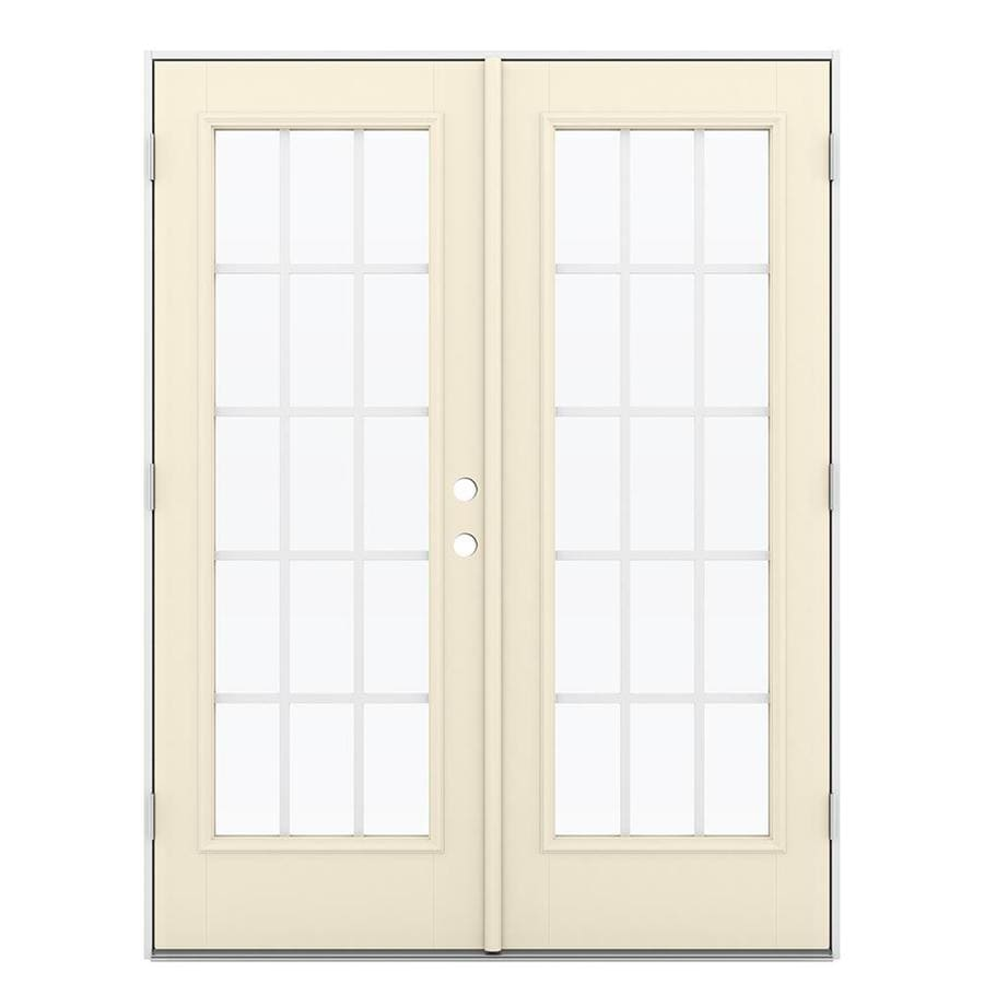 ReliaBilt 59.5-in 15-Lite Grilles Between the Glass Bisque Fiberglass French Outswing Patio Door