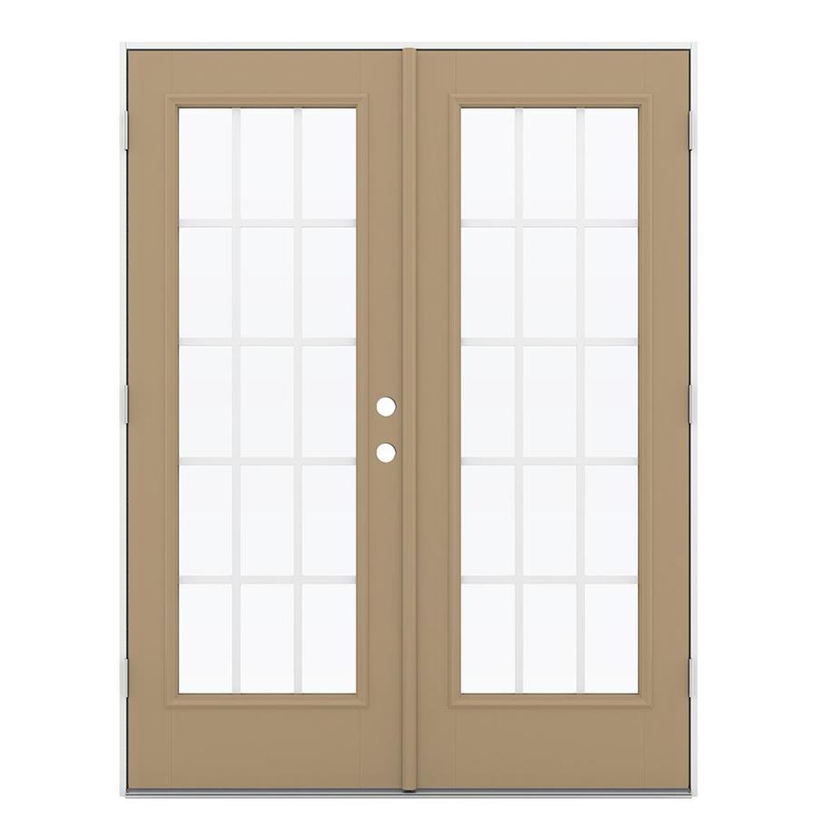 ReliaBilt 59.5-in 15-Lite Grilles Between the Glass Warm Wheat Fiberglass French Outswing Patio Door