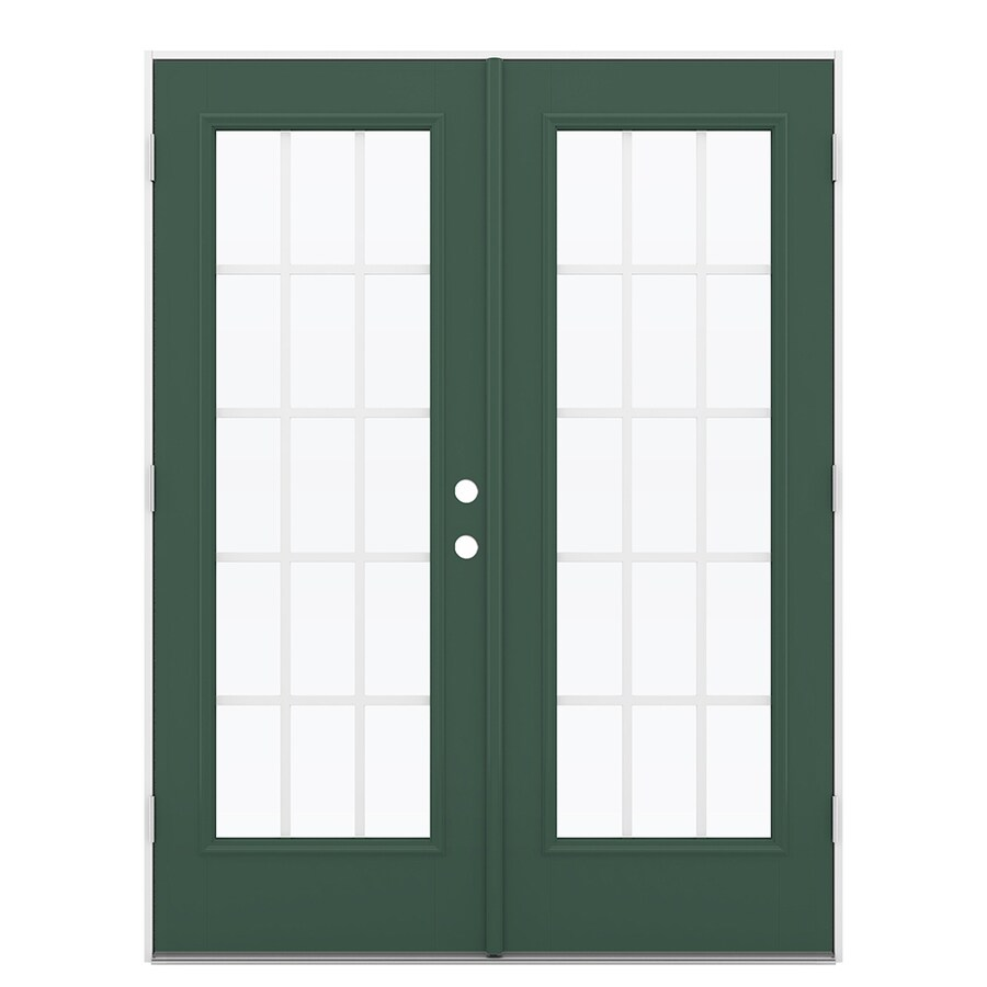 ReliaBilt 59.5-in 15-Lite Grilles Between the Glass Evergreen Fiberglass French Outswing Patio Door