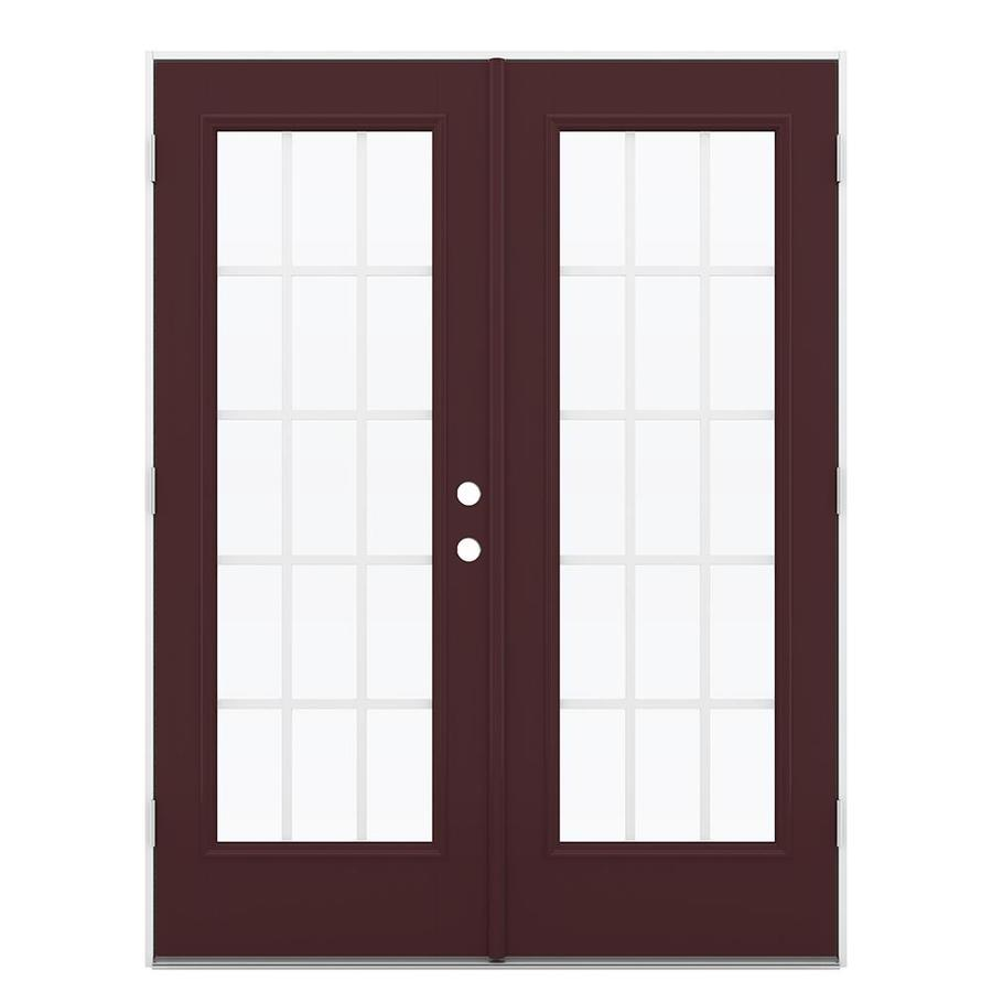 ReliaBilt 59.5-in 15-Lite Grilles Between the Glass Currant Fiberglass French Outswing Patio Door