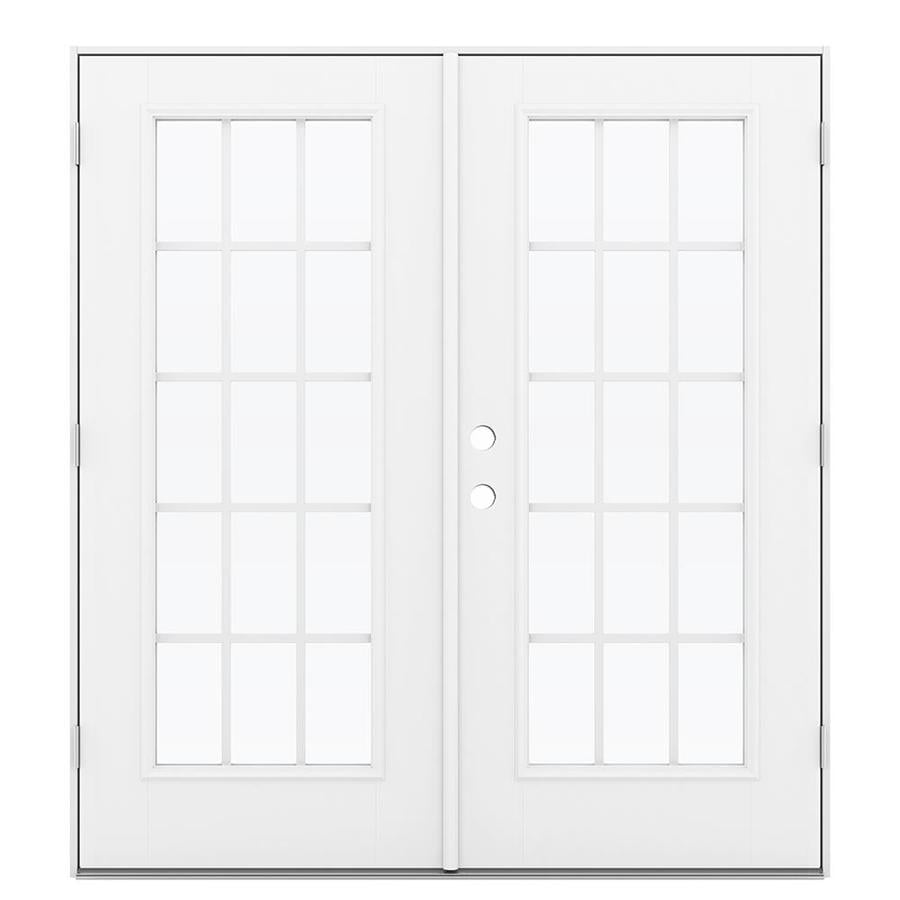 ReliaBilt 71.5-in x 79.5-in Grilles Between the Glass Left-Hand Outswing White Fiberglass French Patio Door