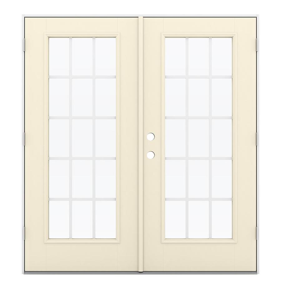 ReliaBilt 71.5-in x 79.5-in Grilles Between the Glass Left-Hand Outswing Off-white Fiberglass French Patio Door