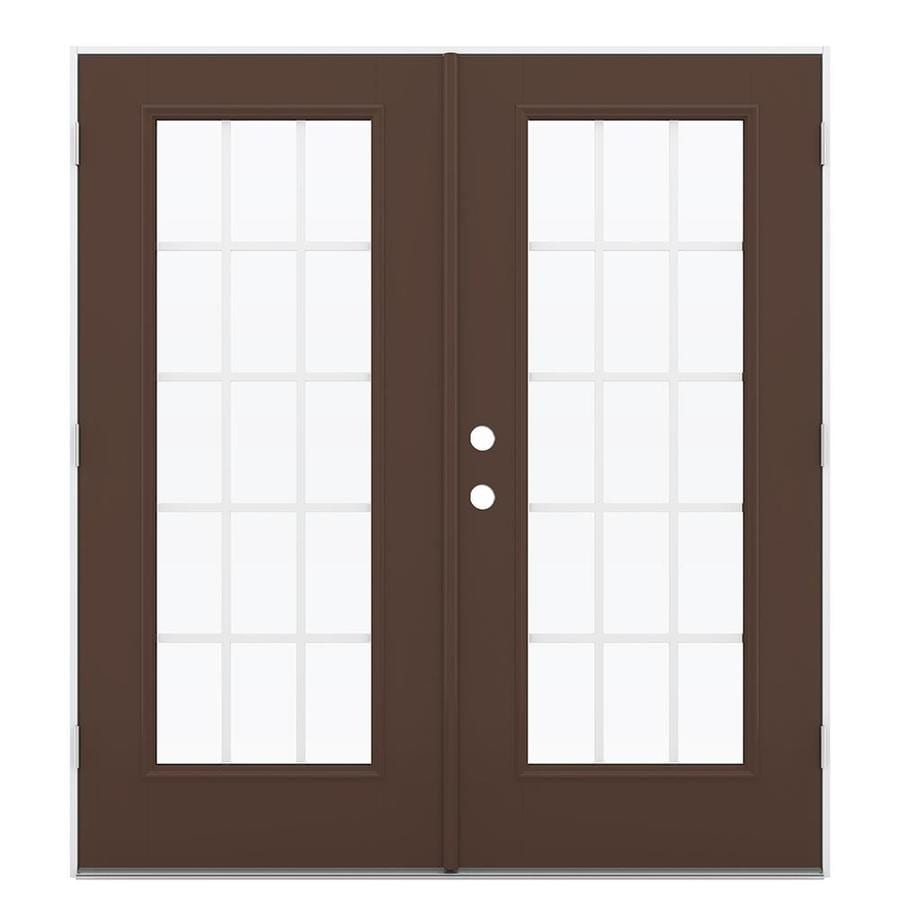 ReliaBilt 71.5-in 15-Lite Grilles Between the Glass Chococate Fiberglass French Outswing Patio Door
