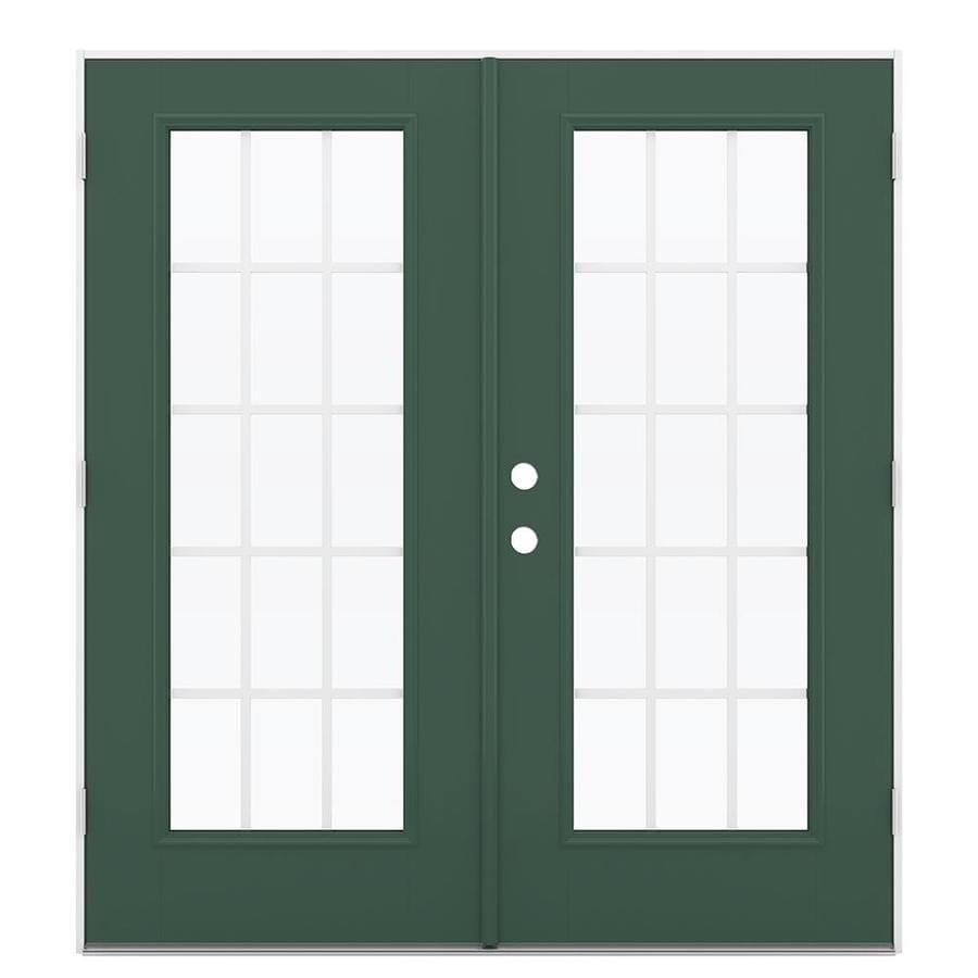 ReliaBilt 71.5-in x 79.5-in Grilles Between the Glass Left-Hand Outswing Green Fiberglass French Patio Door