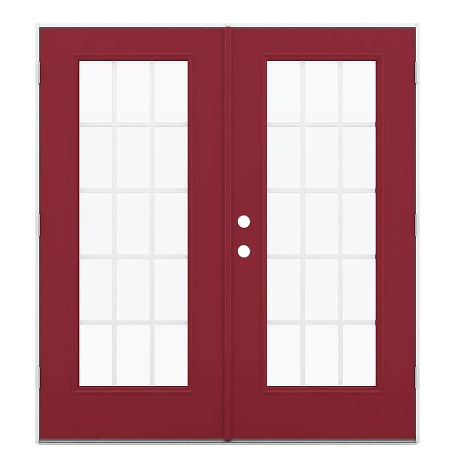 ReliaBilt 71.5-in 15-Lite Grilles Between the Glass Roma Red Fiberglass French Outswing Patio Door