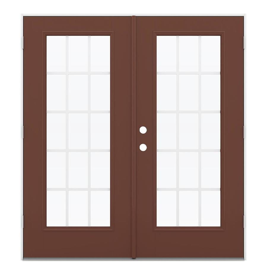 ReliaBilt 71.5-in 15-Lite Grilles Between the Glass Foxtail Fiberglass French Outswing Patio Door