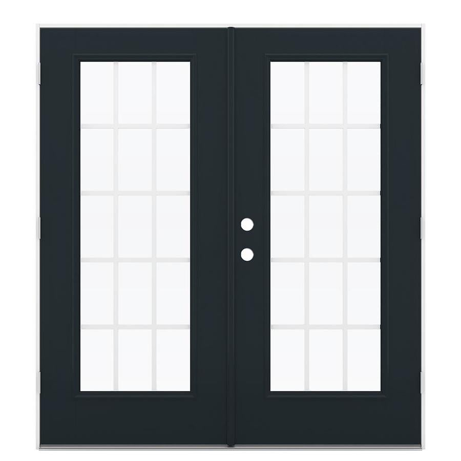 ReliaBilt 71.5-in x 79.5-in Grilles Between the Glass Left-Hand Outswing Black Fiberglass French Patio Door
