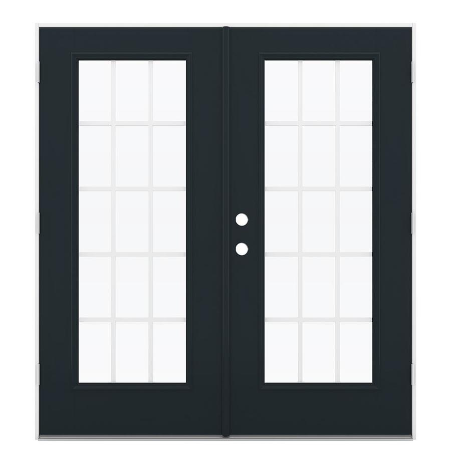 ReliaBilt 71.5-in 15-Lite Grilles Between the Glass Eclipse Fiberglass French Outswing Patio Door