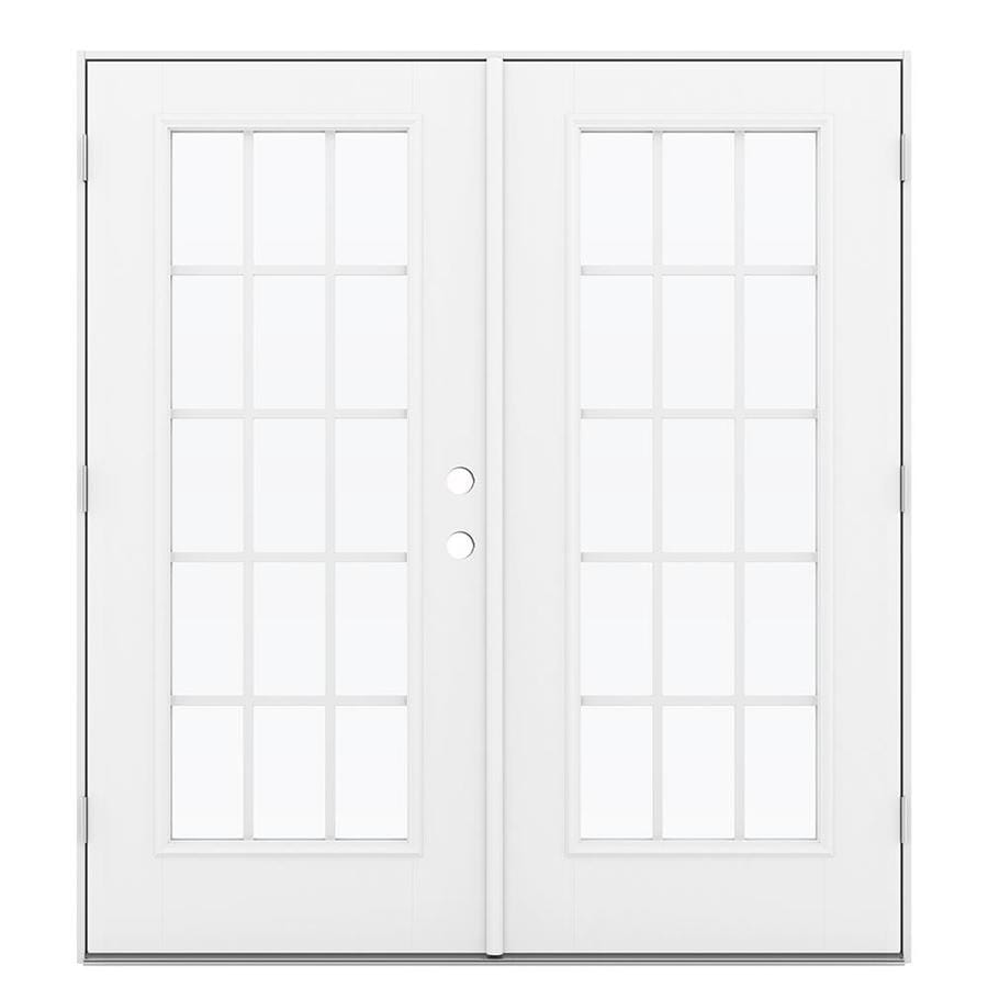 ReliaBilt 71.5-in 15-Lite Grilles Between the Glass Primed Fiberglass French Outswing Patio Door