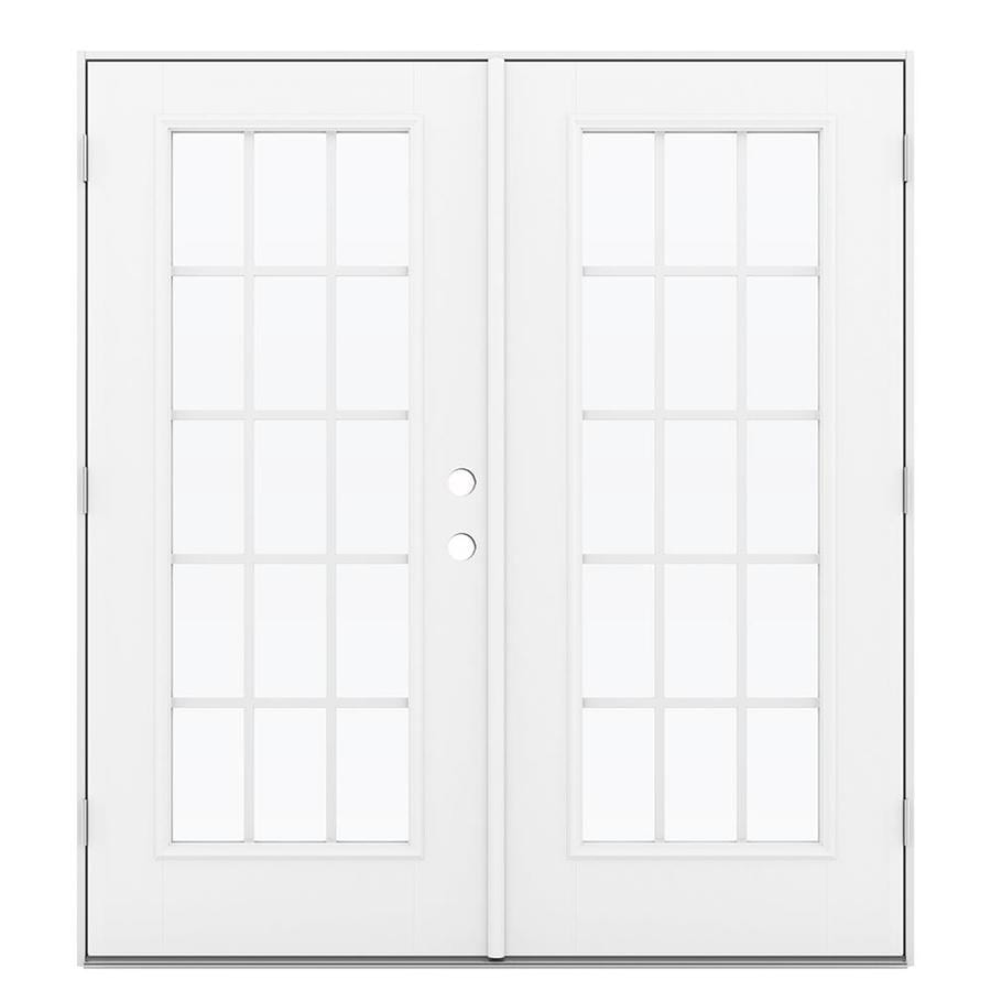 ReliaBilt 71.5-in x 79.5-in Grilles Between the Glass Right-Hand Outswing White Fiberglass French Patio Door