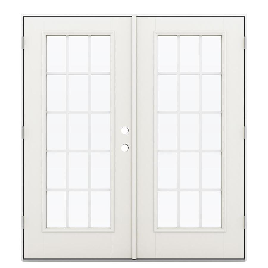 ReliaBilt 71.5-in 15-Lite Grilles Between the Glass Sandy Shore Fiberglass French Outswing Patio Door
