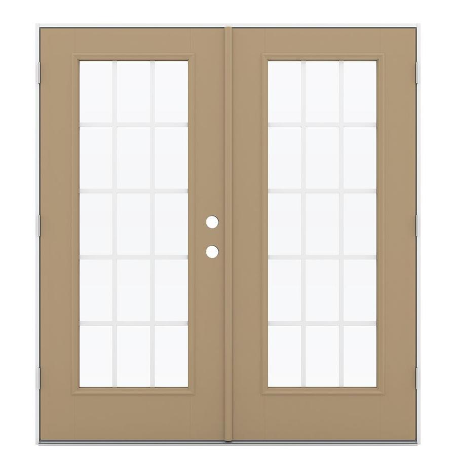 ReliaBilt 71.5-in 15-Lite Grilles Between the Glass Warm Wheat Fiberglass French Outswing Patio Door