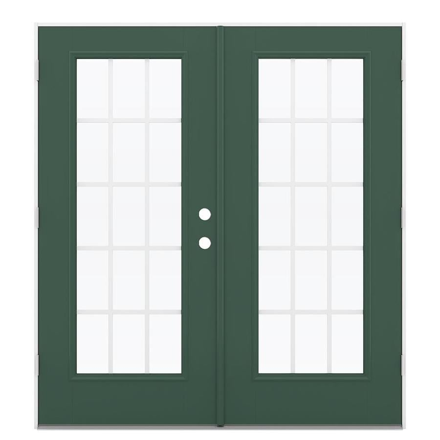 ReliaBilt 71.5-in 15-Lite Grilles Between the Glass Evergreen Fiberglass French Outswing Patio Door