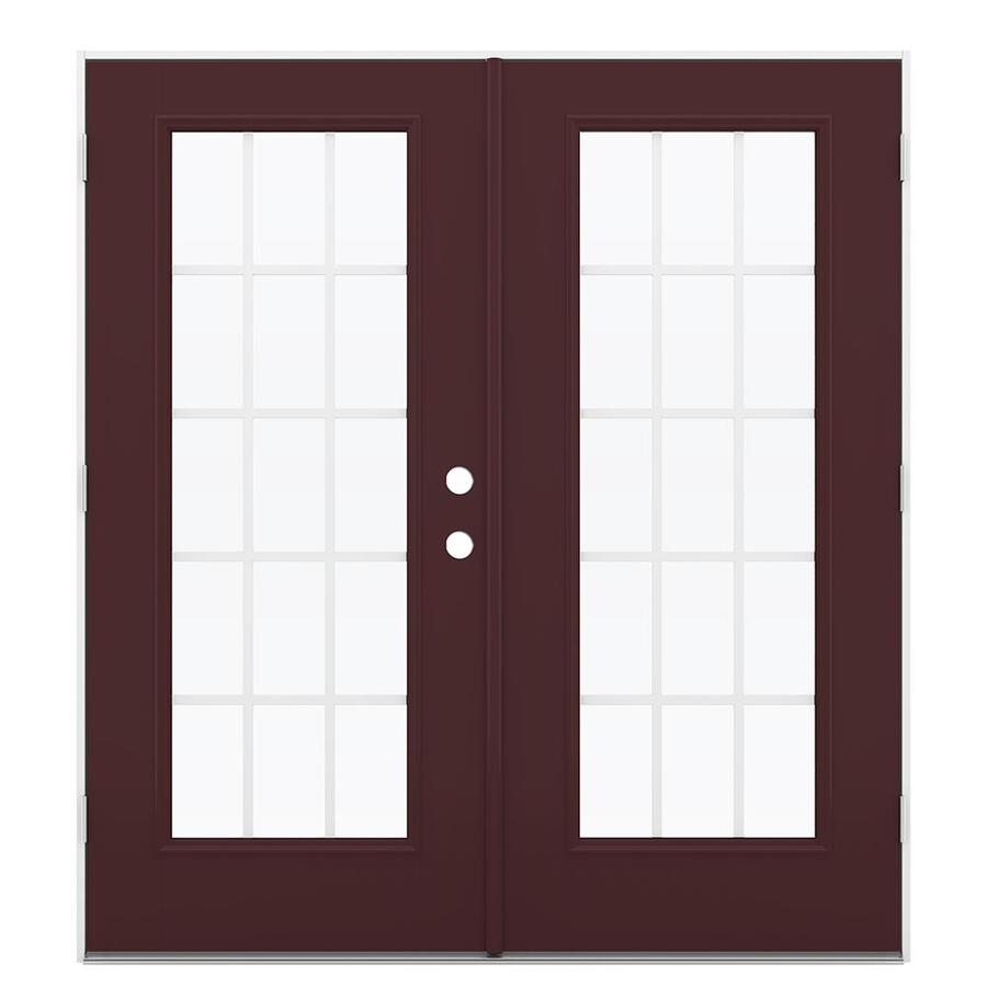 ReliaBilt 71.5-in 15-Lite Grilles Between the Glass Currant Fiberglass French Outswing Patio Door