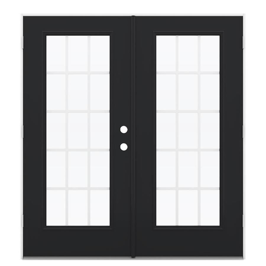 ReliaBilt 71.5-in x 78.625-in Grilles Between the Glass Right-Hand Outswing Fiberglass French Patio Door