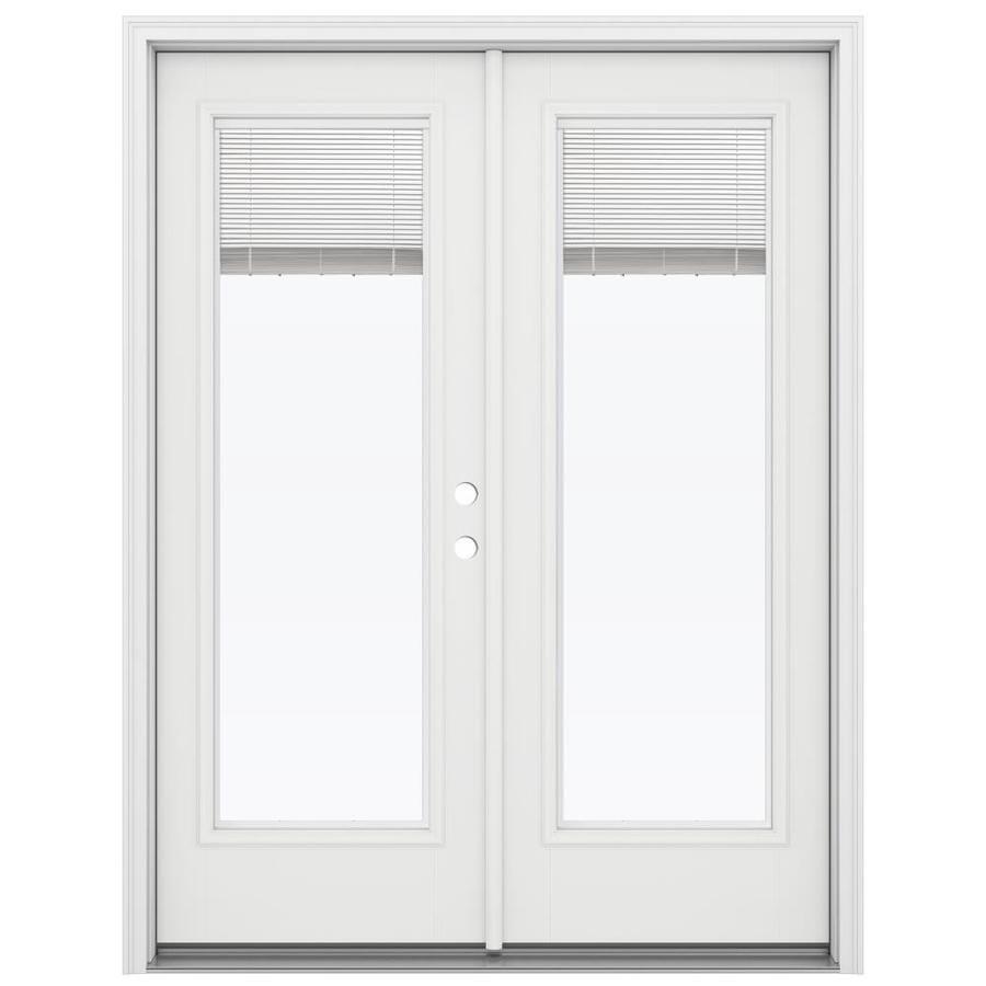 ReliaBilt 59.5-in Blinds Between the Glass Primed Fiberglass French Inswing Patio Door