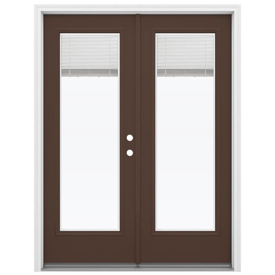 Shop Jeld Wen 59 5 In X 79 5 In Blinds Between The Glass Left Hand Inswing Brown Fiberglass