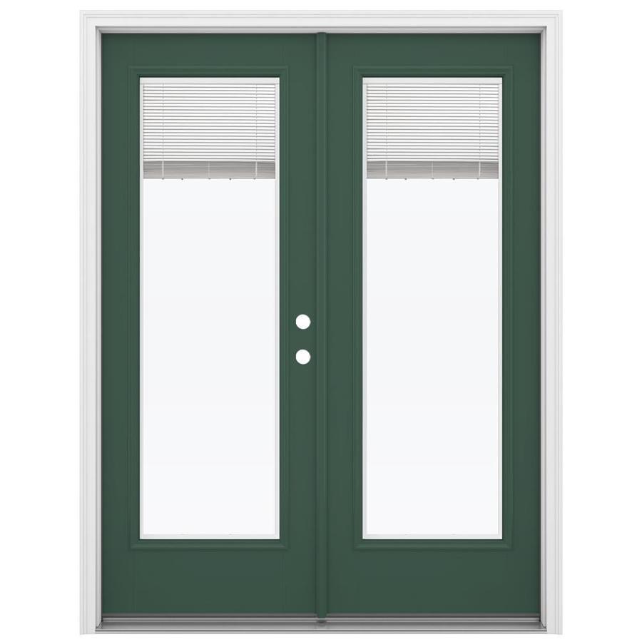 ReliaBilt 59.5-in x 79.5-in Blinds Between the Glass Left-Hand Inswing Green Fiberglass French Patio Door